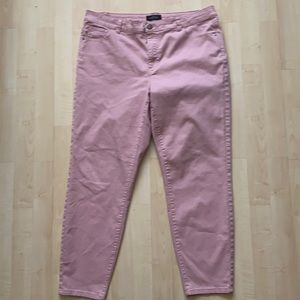 Pink jeans - classic 5 pocket button fly- Michel Studio so 16- pale dusty pink